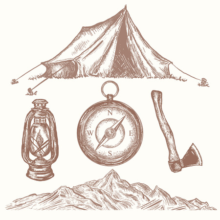 Camping vacation objects hand drawn elements. Camping tent, compass, axe, kerosene lamp, mountain, adventure collection
