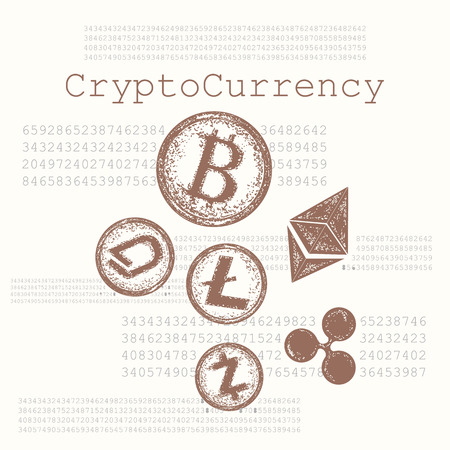 Crypto currency hand drawn concept