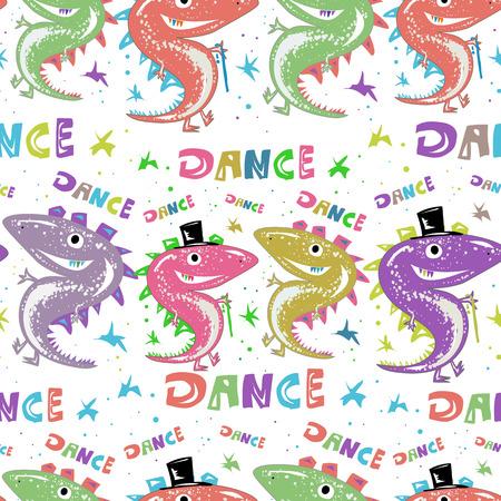 Modèle sans couture de joyeux anniversaire. Dinosaures drôles dansent pendant les vacances. Illustration des enfants Banque d'images - 82661457