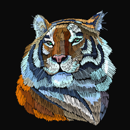 Embroidery tiger. Portrait of beautiful tiger template for fashion clothes, textiles, t-shirt design