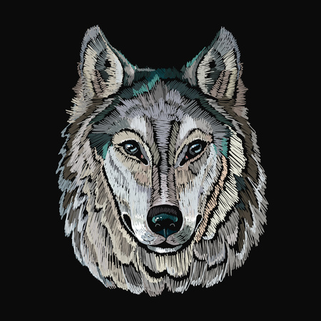 Embroidery wolf. Embroidery portrait of gray wolf vector, template for clothes, textiles, t-shirt design