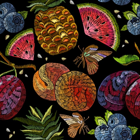 Embroidery fruit seamless pattern. Classic embroidery watermelon, pineapple, plums, berries, butterflies, summer seamless pattern. Template for clothes, textiles, t-shirt design