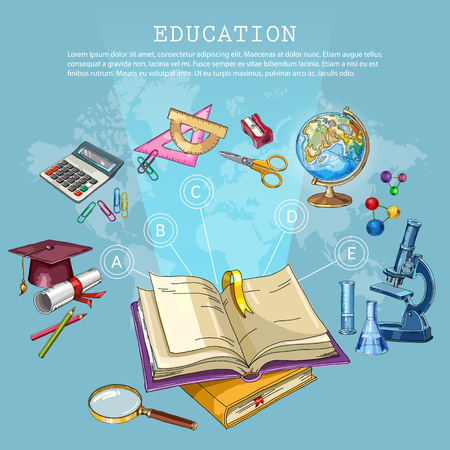 Education and science. Back to school concept. Modern education elements, school tools. Open book of knowledge. Symbol of science and education