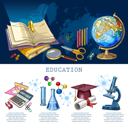 Education infographic. Modern education elements. Studying of geography, physics, chemistry. Open book of knowledge. Symbol of science and education. Back to school infographic banner