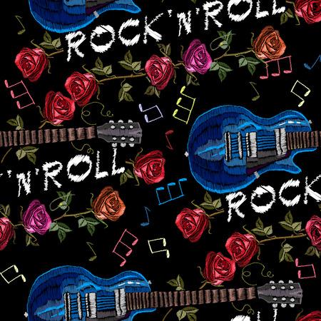 音楽シームレスな刺繍。ロック ギターとバラ ゴシック美術シームレスな背景。 ロックン ロール ' ロールのスローガン。女性は、女性の t シャ