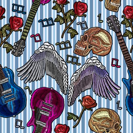 音楽シームレスな刺繍。ギター、ゴシックのバラ、天使の羽、人間の頭蓋骨、音楽ノート。服のロック パターン。刺繍ロック音楽ファッション アー