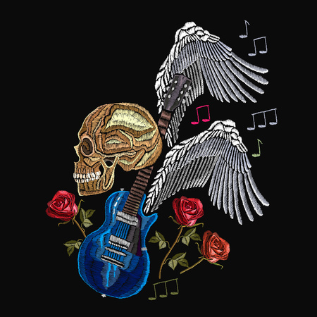 Embroidery rock music. Skull, guitar, wings, classical embroidery, music print template for clothes, textiles, t-shirt design Ilustração