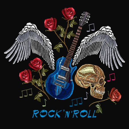 Rock n Roll embroidery, rock music print. Skull, guitar, wings, roses, classical embroidery, music art template for clothes, textiles, t-shirt design