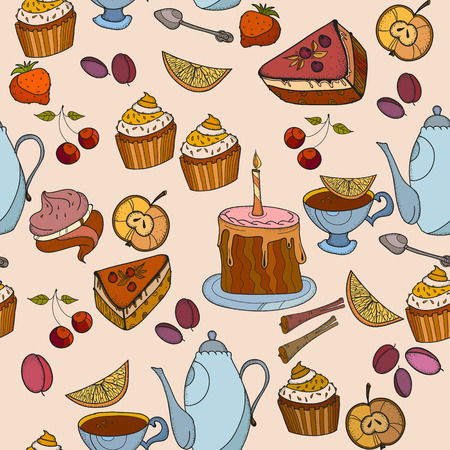 Tea and sweets, cupcakes seamless pattern. Tea party vintage hand drawn seamless background