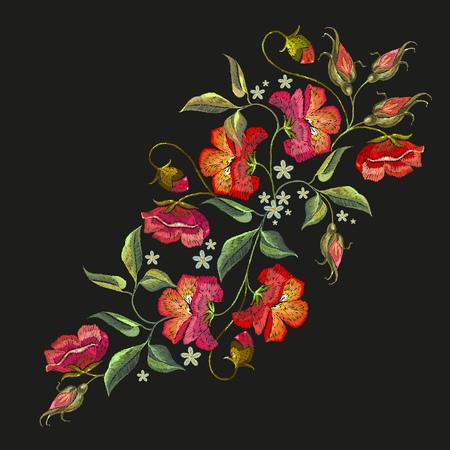 刺繍のバラ花 t シャツ デザイン。黒の背景に美しい赤いバラの古典的な刺繍。服、織物、t シャツのデザイン テンプレート