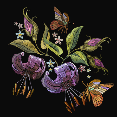 Embroidery tiger lillies and butterfly. Beautiful tiger lillies classical embroidery on black background. Template for clothes, textiles, t-shirt design