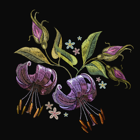 Embroidery tiger lillies. Beautiful tiger lillies classical embroidery on black background. Template for clothes, textiles, t-shirt design Illustration