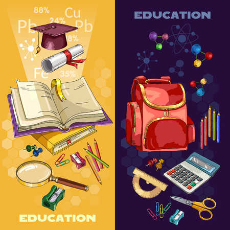 Education banner. Open book of knowledge. Back to school tools. Symbol of education, mathematics, chemistry, physics. Modern education elements Illustration