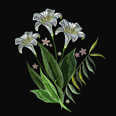 Embroidery white flowers clothes design. Beautiful white lillies classical embroidery on black background. Template for clothes, textiles, t-shirt design