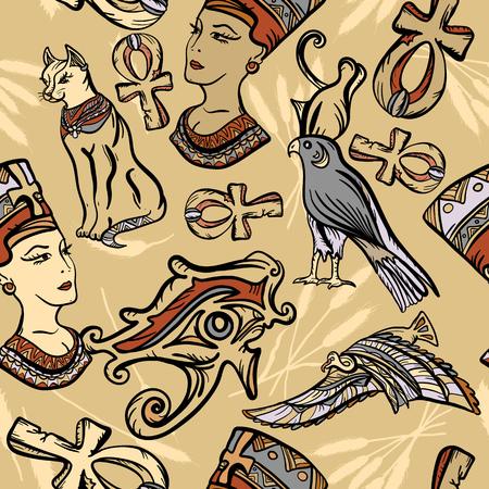 Altes Ägypten nahtlose Muster, alte Schule Tattoo. Klassischer Flash-Tattoo-Stil Ägypten, Patches und Aufkleber. Pharao, Ankh, Auge Ra, Nofretete, Katze. Altes Ägypten-Kunstmuster Standard-Bild - 88694013