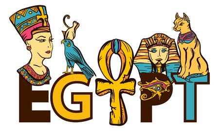 Ancient Egypt seamless pattern, old school tattoo. Egypt - slogan. Pharaoh, ankh, eye Ra, Nefertiti, cat. Ancient Egypt art pattern. Classic flash tattoo style Illustration