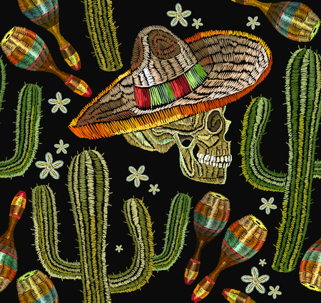 Embroidery mexican culture seamless pattern. Human skull, sombrero, maracases, cactus. Classical ethnic embroiderys kull in sombrero, day of the dead art pattern. Clothes template, t-shirt design Иллюстрация