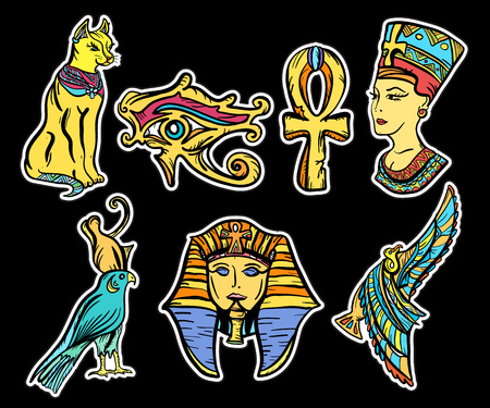 Ancient Egypt, old school tattoo. Ancient Egypt hand drawn collection. Classic flash tattoo style Egypt, patches and stickers. Pharaoh, ankh, eye Ra, Nefertiti, cat