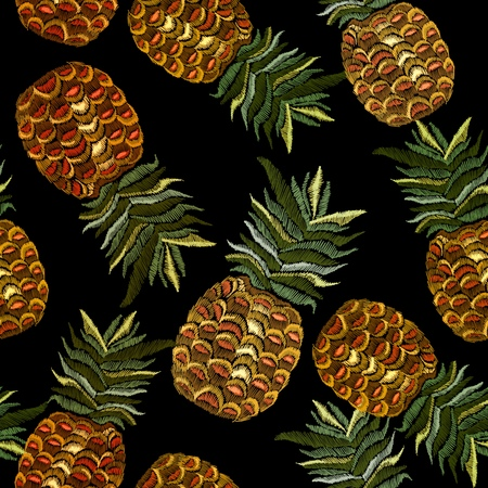 Embroidery pineapple seamless pattern. Classic embroidery tropical pineapple pattern. Summer template for clothes, textiles, t-shirt design