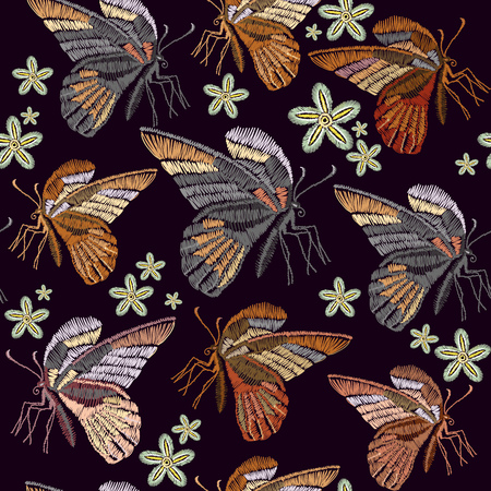Butterflies and flowers embroidery seamless pattern. Beautiful vintage butterflies classical embroidery seamless background template for clothes, textiles, t-shirt design