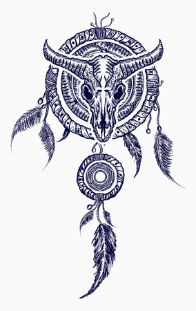 3a49c2169435c Bison skull and indian dream catcher tattoo. Tribal art. Native american  culture. Wild