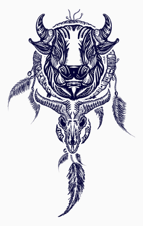 Tribal bull and dreamcatcher tattoo art. Indian dream catcher with ethnic ornaments and ethnic bull head tattoo. Boho native american style t-shirt design Çizim