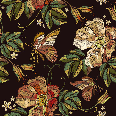 Embroidery vintage wild roses flowers and butterfly seamless pattern. Beautiful red roses classical embroidery seamless pattern. Template for clothes, textiles, t-shirt design