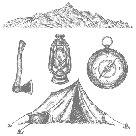 Camping tent, compass, axe, kerosene lamp, mountain, adventure retro collection. Camping vacation objects hand drawn elements