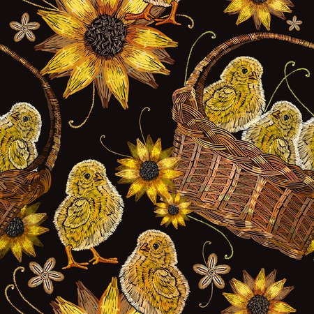 Embroidery chickens and sunflowers in a basket seamless pattern. Classical embroidery beautiful yellow chickens. Template for clothes, textiles, t-shirt design Illustration