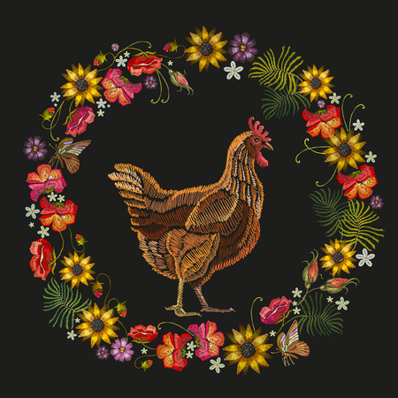 Embroidery chicken and wreath of flowers. Fashion template for clothes, textiles, t-shirt design. Classical embroidery beautiful chicken, red roses, peonies, sunflowers, butterflies Illustration