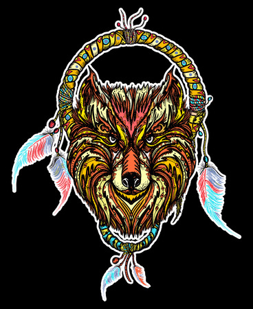 Indian dream catcher with ethnic ornaments and ethnic tribal head wolf in black background. Boho native american style t-shirt design. Tribal wolf and dreamcatcher vector Illustration