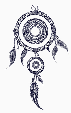 Dream catcher with feathers tattoo. Boho native american style t-shirt design. Indian dream catcher with ethnic ornaments tattoo art