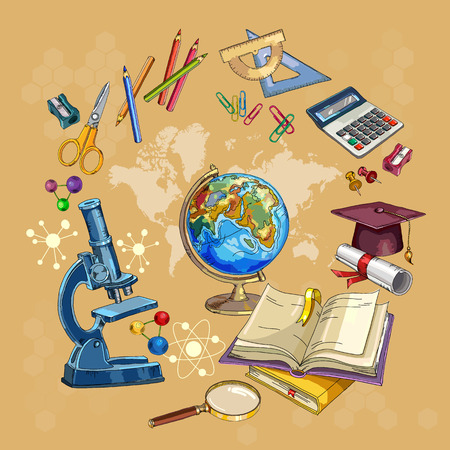 Open book of knowledge. Symbol of science and education. Education and science. Back to school concept. Modern education elements, school tools Illustration