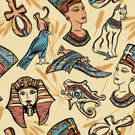 Ancient Egypt vintage seamless pattern, old school tattoo. Pharaoh, ankh, eye Ra, Nefertiti, cat. Ancient Egypt art pattern. Classic flash tattoo style Egypt, patches and stickers