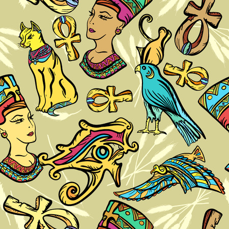 Ancient Egypt art pattern. Classic flash tattoo style Egypt, patches and stickers. Ancient Egypt seamless pattern, old school tattoo. Pharaoh, ankh, eye Ra, Nefertiti, cat