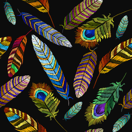 Color feathers embroidery seamless pattern. Fashion template for clothes, textiles, t-shirt design. Beautiful bright tropical peacock feathers embroidery, hand drawn Illustration