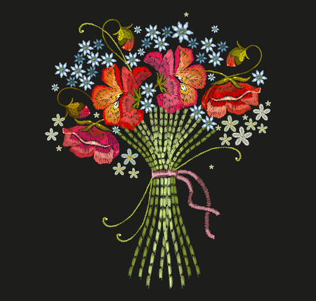 Embroidery bouquet of flowers. Classical embroidery beautiful summer flowers. Template for clothes, textiles, t-shirt design Illustration