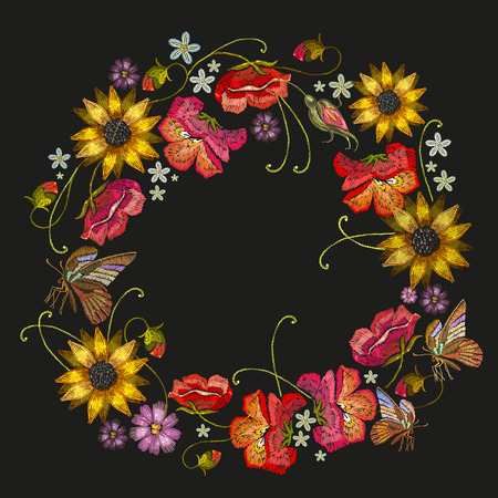 Embroidery wreath of flowers. Fashion template for clothes, textiles, t-shirt design. Classical embroidery red roses, peonies, sunflowers, butterflies