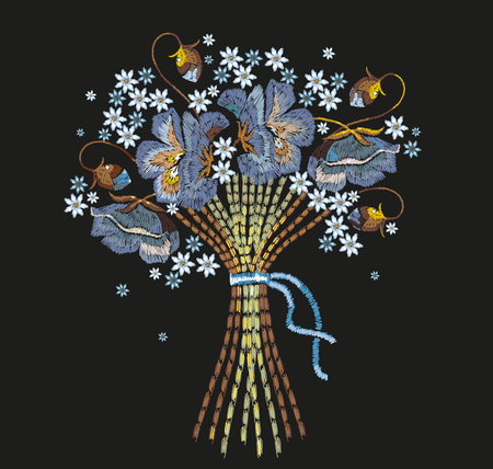 Embroidery bouquet of blue flowers. Template for clothes, textiles, t-shirt design. Classical embroidery beautiful summer flowers