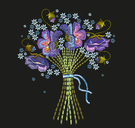 Embroidery bouquet of blue flowers.