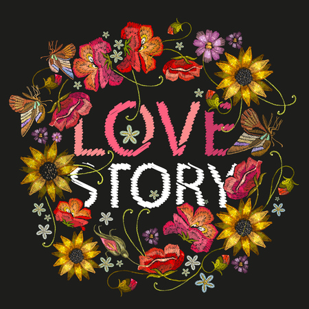Love story text with embroidery of flower wreath. Illustration