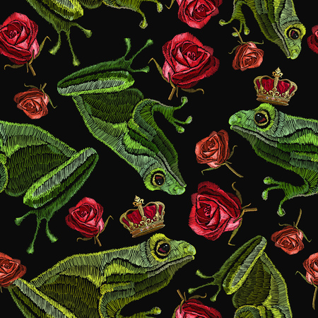 Embroidery frog and buds of red roses seamless pattern. Fantastic background classical embroidery. Frog and roses fashion pattern. Template for clothes, textiles, t-shirt design 일러스트