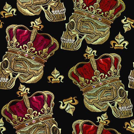 Embroidery golden crown and human skull seamless pattern. Fashion template for clothes, textiles, t-shirt design. Embroidery medieaval  dead king with crown gothic seamless pattern Illustration