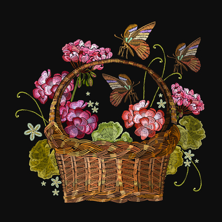 Embroidery geranium flowers and butterfly in a wicker basket seamless pattern. Classical embroidery beautiful flowers of red geranium an tropical buterfly pattern. Clothes template, t-shirt design Illustration