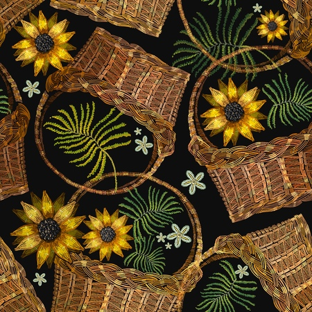 Embroidery wicker baskets and sunflowers. Garden background. Template for clothes, textiles, t-shirt design Illustration