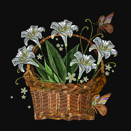 Beautiful white lillies classical embroidery in a wicker basket on black background. Template for clothes, textiles, t-shirt design Illustration