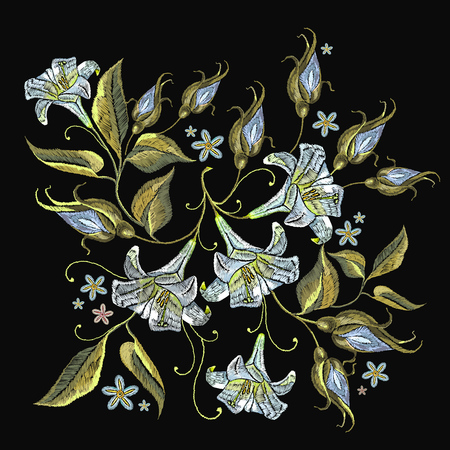 Embroidery white lillies flowers. Template for clothes, textiles, t-shirt design. Beautiful white lillies classical embroidery on black background
