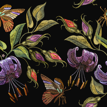 Embroidery tiger lillies and butterfly seamless pattern. Template for clothes, textiles, t-shirt design. Beautiful tiger lillies classical embroidery on black background