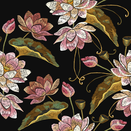 Embroidery lotus flowers seamless pattern. Classical embroidery pink lotuses pattern, water lily. Clothes template, t-shirt design