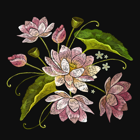 Embroidery lotus flowers. Classical embroidery pink lotuses, water lily. Clothes template, t-shirt design Illustration